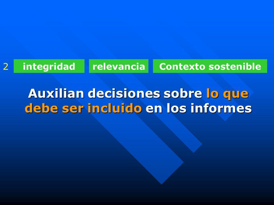 integridadrelevanciaContexto sostenible2 Auxilian decisiones sobre lo que debe ser incluido en los informes