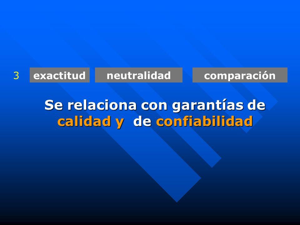 exactitud neutralidad comparación 3 Se relaciona con garantías de calidad y de confiabilidad