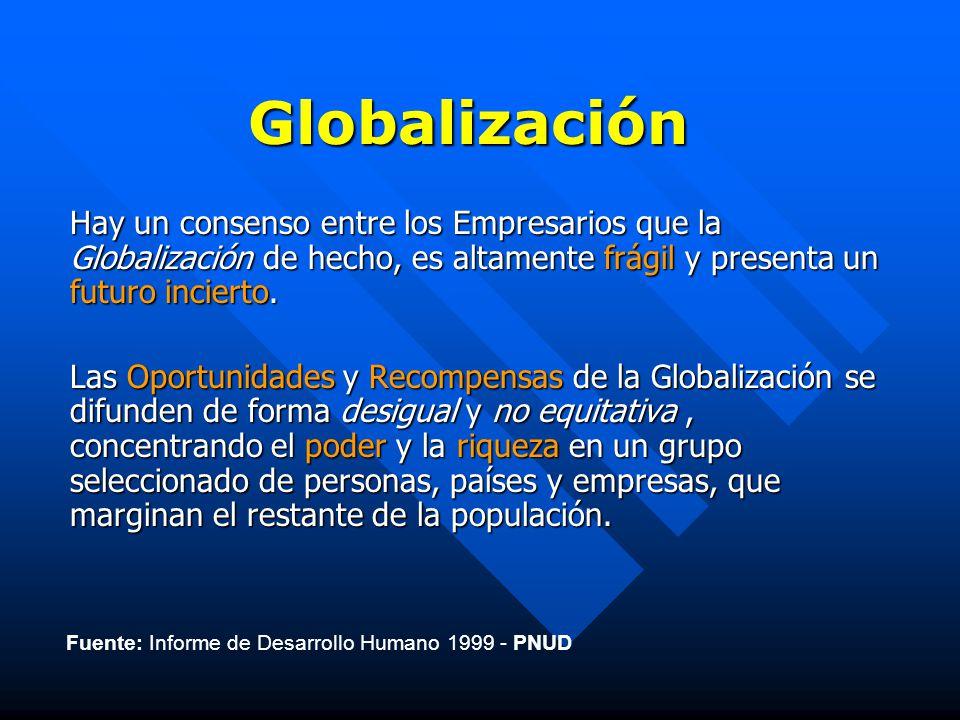 Globalización Hay un consenso entre los Empresarios que la Globalización de hecho, es altamente frágil y presenta un futuro incierto.