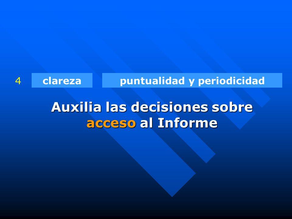 clarezapuntualidad y periodicidad4 Auxilia las decisiones sobre acceso al Informe