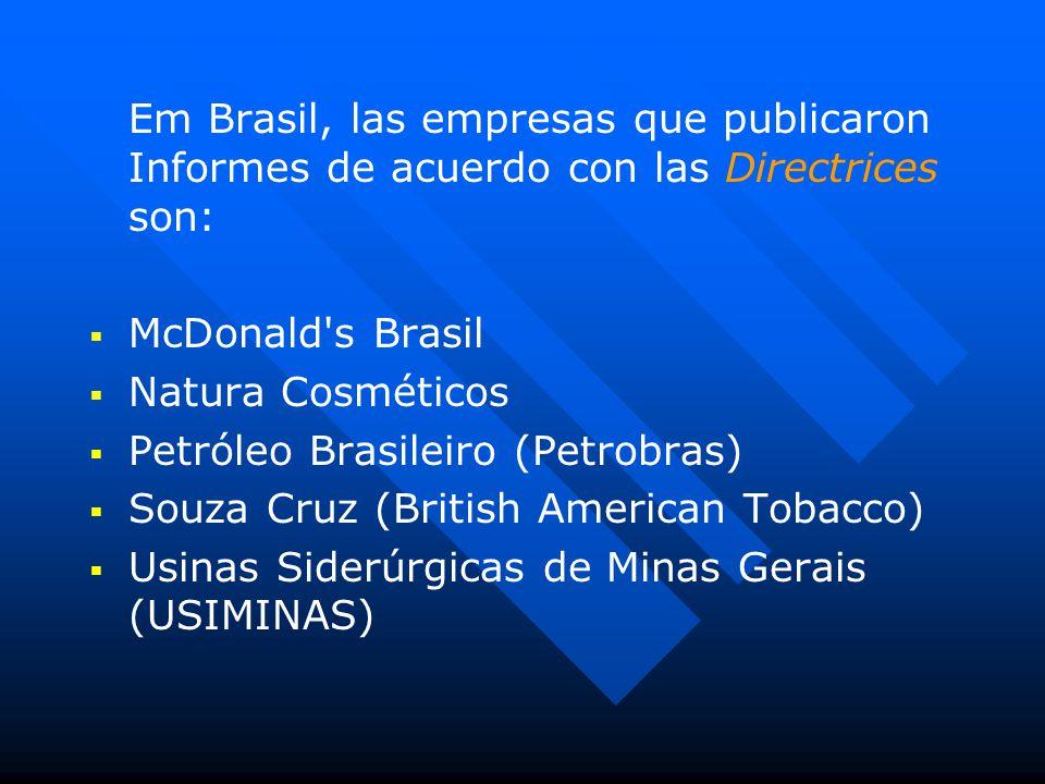 Em Brasil, las empresas que publicaron Informes de acuerdo con las Directrices son:   McDonald s Brasil   Natura Cosméticos   Petróleo Brasileiro (Petrobras)   Souza Cruz (British American Tobacco)   Usinas Siderúrgicas de Minas Gerais (USIMINAS)