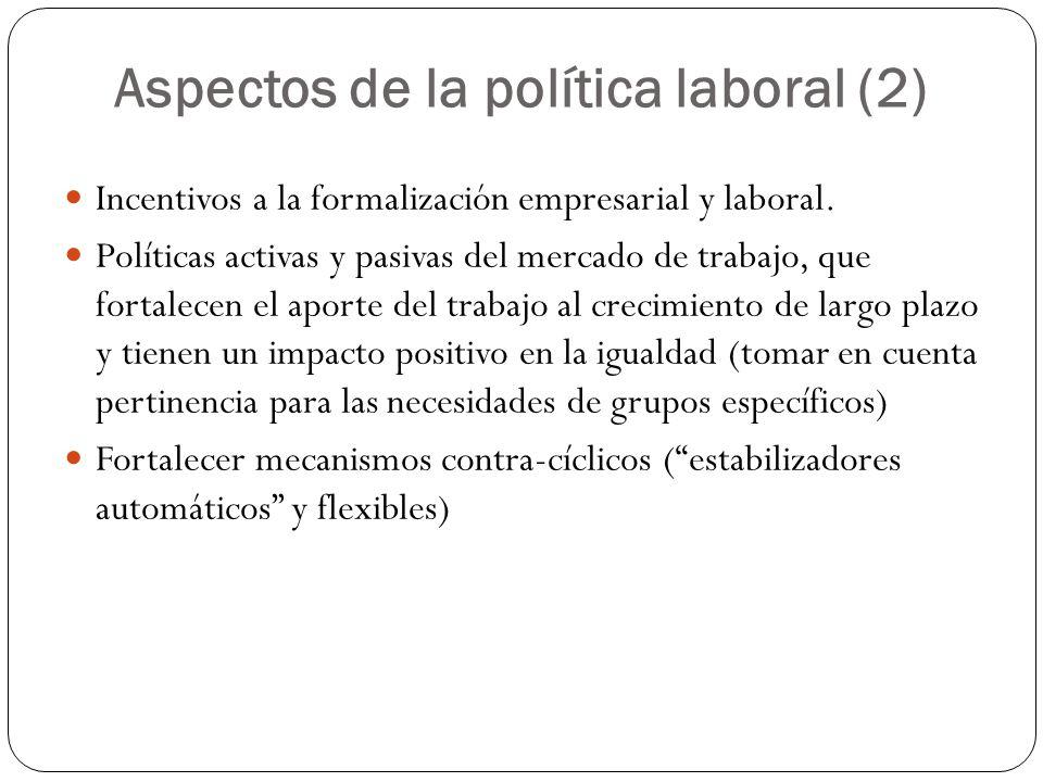Aspectos de la política laboral (2) Incentivos a la formalización empresarial y laboral.