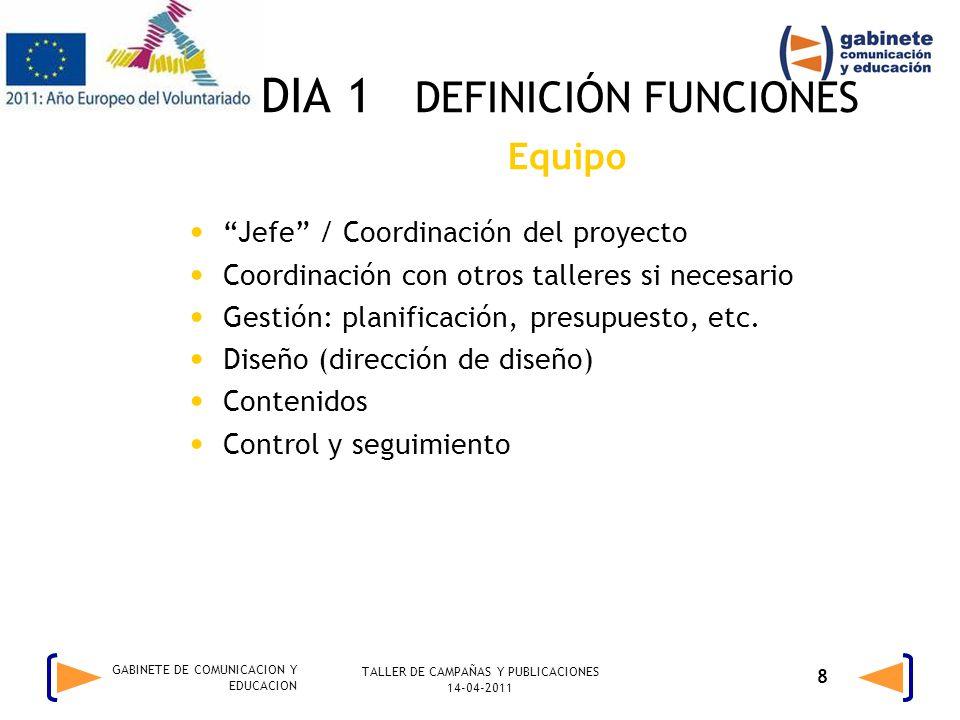 TALLER DE CAMPAÑAS Y PUBLICACIONES 14-04-2011 8 GABINETE DE COMUNICACION Y EDUCACION DIA 1 DEFINICIÓN FUNCIONES Equipo Jefe / Coordinación del proyecto Coordinación con otros talleres si necesario Gestión: planificación, presupuesto, etc.