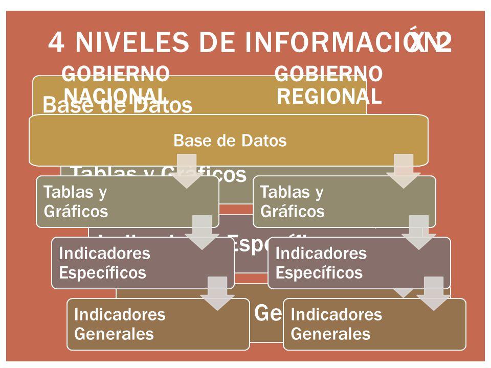 4 NIVELES DE INFORMACIÓN Base de DatosTablas y GráficosIndicadores EspecíficosIndicadores Generales X 2 Tablas y Gráficos Indicadores Específicos Indicadores Generales Base de Datos Tablas y Gráficos Indicadores Específicos Indicadores Generales GOBIERNO NACIONAL GOBIERNO REGIONAL