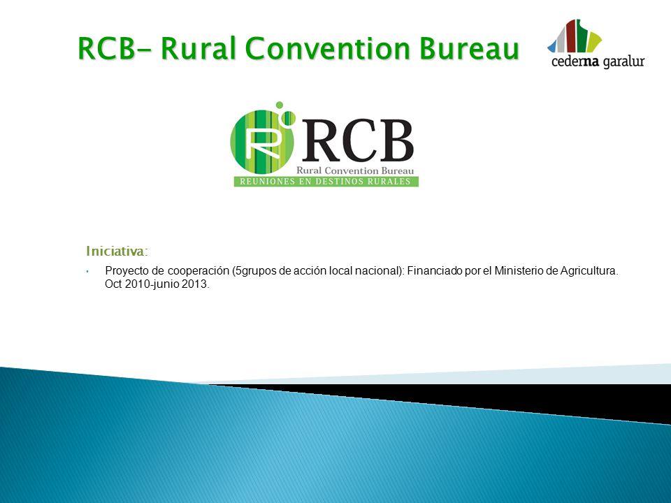 RCB- Rural Convention Bureau Iniciativa: Proyecto de cooperación (5grupos de acción local nacional): Financiado por el Ministerio de Agricultura.