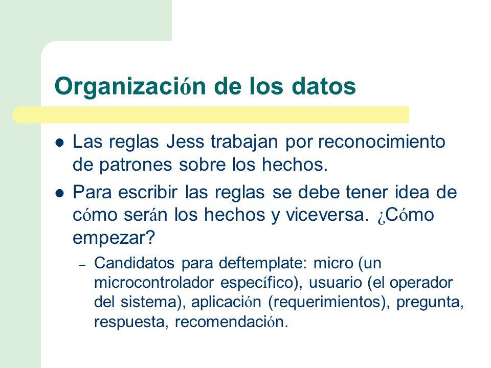 Organizaci ó n de los datos Las reglas Jess trabajan por reconocimiento de patrones sobre los hechos.
