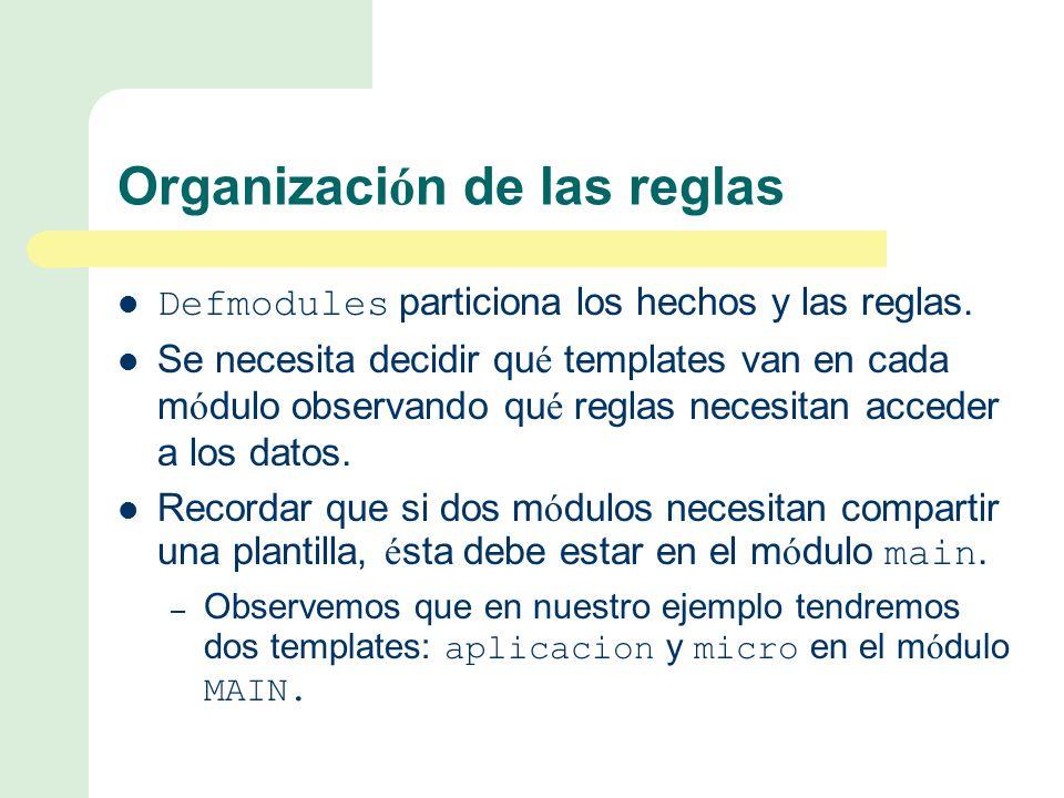 Organizaci ó n de las reglas Defmodules particiona los hechos y las reglas.