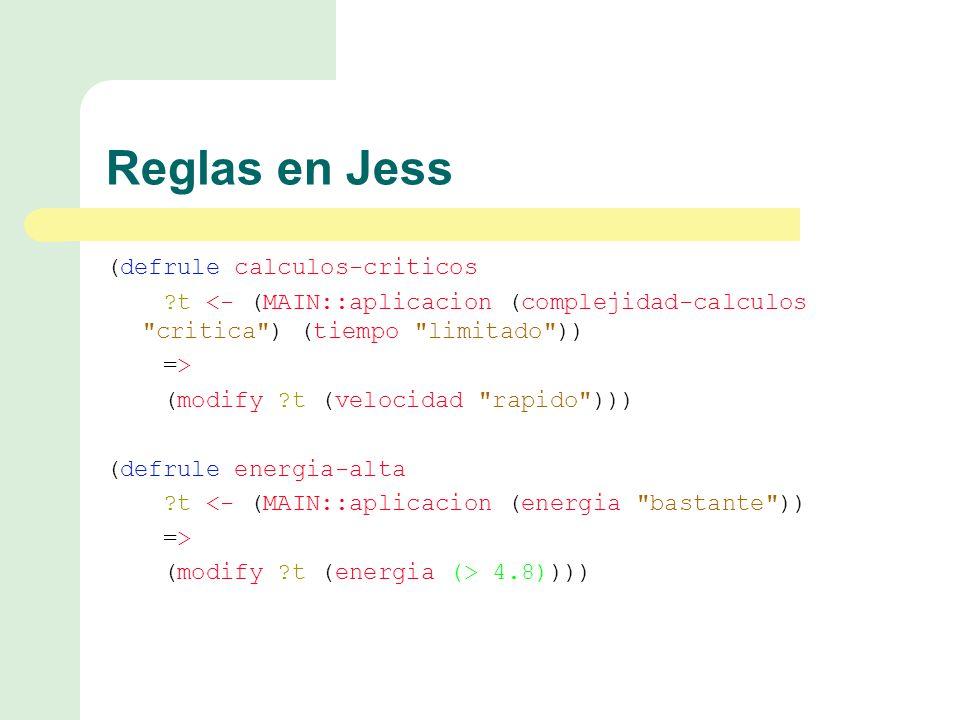 Reglas en Jess (defrule calculos-criticos t <- (MAIN::aplicacion (complejidad-calculos critica ) (tiempo limitado )) => (modify t (velocidad rapido ))) (defrule energia-alta t <- (MAIN::aplicacion (energia bastante )) => (modify t (energia (> 4.8))))