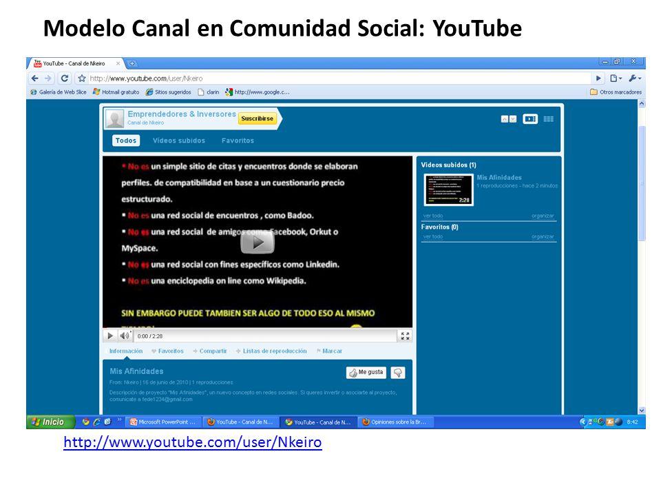 Modelo Canal en Comunidad Social: YouTube http://www.youtube.com/user/Nkeiro