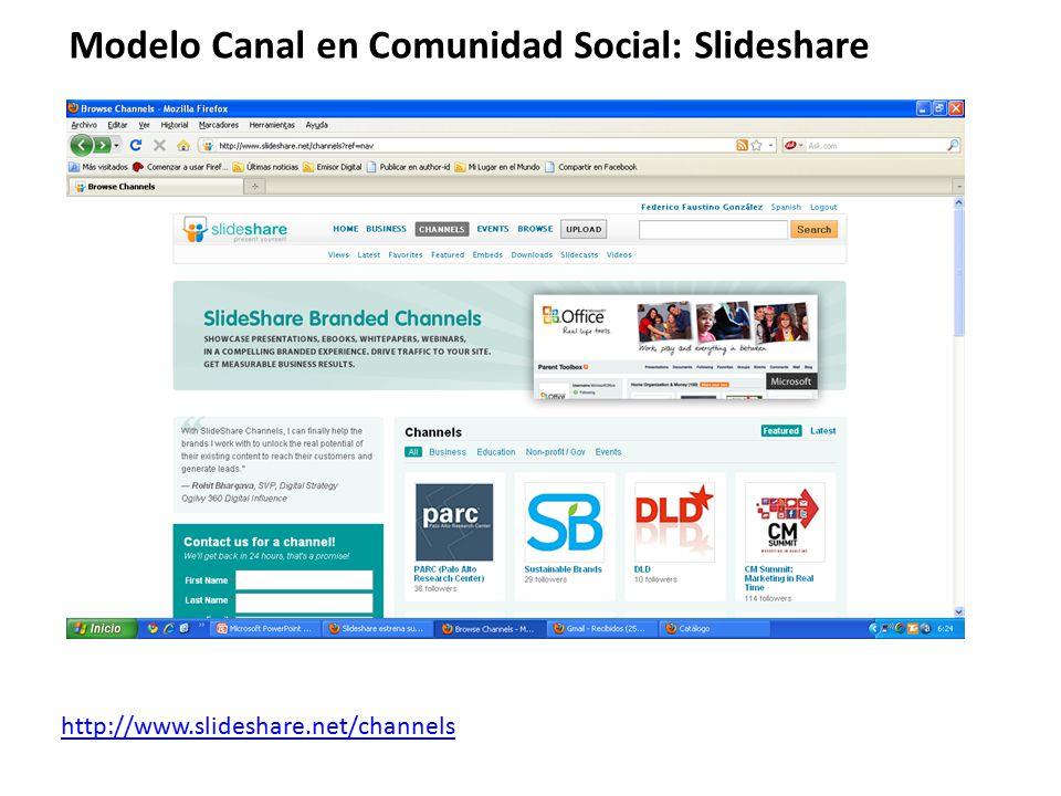 Modelo Canal en Comunidad Social: Slideshare http://www.slideshare.net/channels
