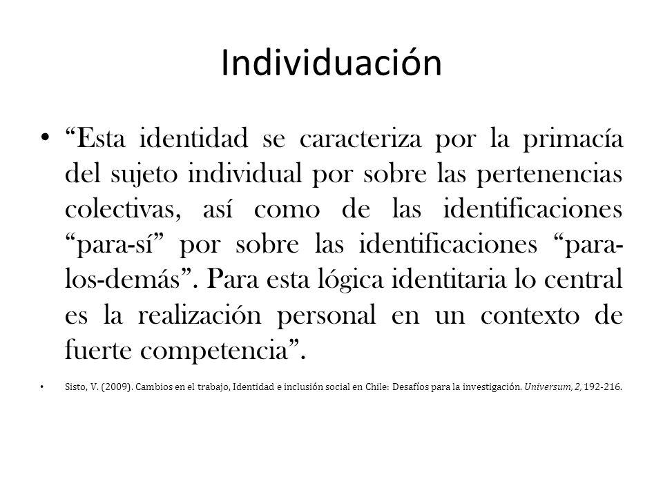 Individuación Esta identidad se caracteriza por la primacía del sujeto individual por sobre las pertenencias colectivas, así como de las identificaciones para-sí por sobre las identificaciones para- los-demás .