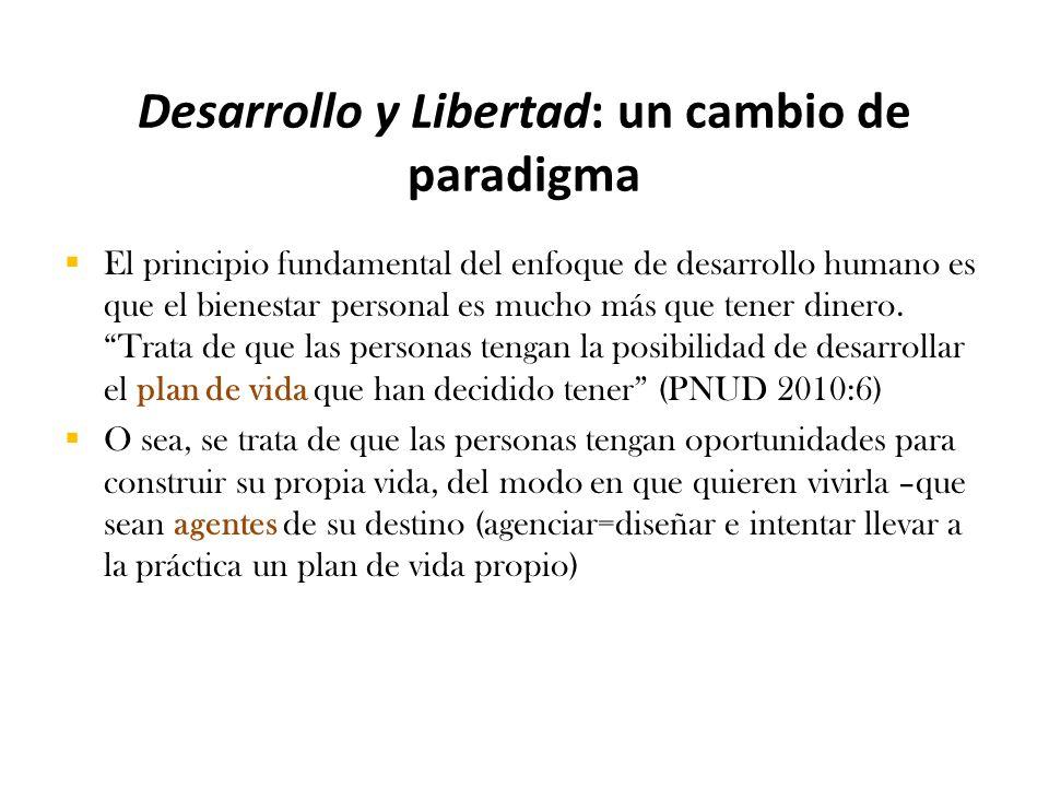 Desarrollo y Libertad: un cambio de paradigma  El principio fundamental del enfoque de desarrollo humano es que el bienestar personal es mucho más que tener dinero.