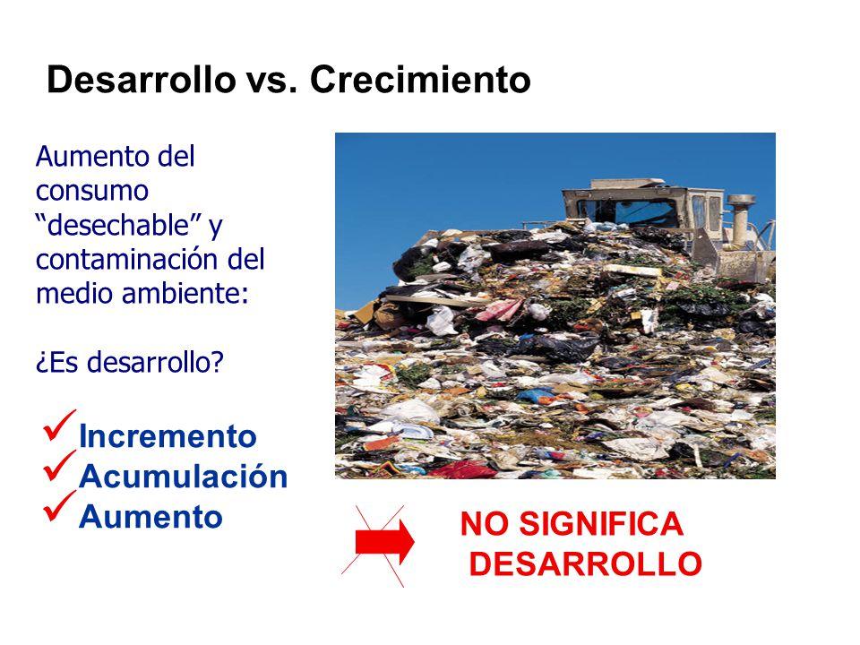 Incremento Acumulación Aumento NO SIGNIFICA DESARROLLO Desarrollo vs.