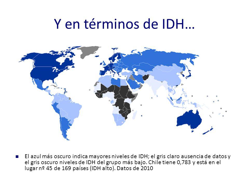 Y en términos de IDH… El azul más oscuro indica mayores niveles de IDH; el gris claro ausencia de datos y el gris oscuro niveles de IDH del grupo más bajo.