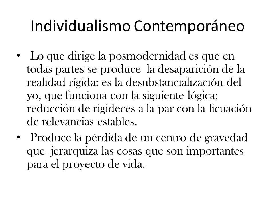 Individualismo Contemporáneo Lo que dirige la posmodernidad es que en todas partes se produce la desaparición de la realidad rígida: es la desubstancialización del yo, que funciona con la siguiente lógica; reducción de rigideces a la par con la licuación de relevancias estables.