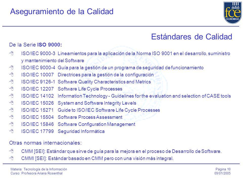 Página 10 09/01/2005 Aseguramiento de la Calidad Materia: Tecnología de la Información Curso: Profesora Ariana Rosenthal Estándares de Calidad De la Serie ISO 9000:  ISO/IEC 9000-3Lineamientos para la aplicación de la Norma ISO 9001 en el desarrollo, suministro y mantenimiento del Software  ISO/IEC 9000-4Guía para la gestión de un programa de seguridad de funcionamiento  ISO/IEC 10007Directrices para la gestión de la configuración  ISO/IEC 9126-1Software Quality Characteristics and Metrics  ISO/IEC 12207Software Life Cycle Processes  ISO/IEC 14102Information Technology - Guidelines for the evaluation and selection of CASE tools  ISO/IEC 15026System and Software Integrity Levels  ISO/IEC 15271Guide to ISO/IEC Software Life Cycle Processes  ISO/IEC 15504Software Process Assessment  ISO/IEC 15846Software Configuration Management  ISO/IEC 17799Seguridad Informática Otras normas internacionales:  CMM [SEI]: Estándar que sirve de guía para la mejora en el proceso de Desarrollo de Software.