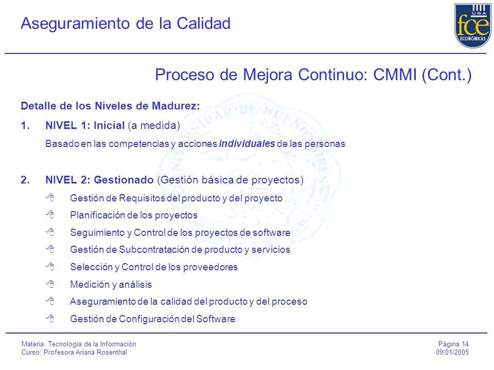 Página 14 09/01/2005 Aseguramiento de la Calidad Materia: Tecnología de la Información Curso: Profesora Ariana Rosenthal Proceso de Mejora Continuo: CMMI (Cont.) Detalle de los Niveles de Madurez: 1.NIVEL 1: Inicial (a medida) Basado en las competencias y acciones individuales de las personas 2.NIVEL 2: Gestionado (Gestión básica de proyectos)  Gestión de Requisitos del producto y del proyecto  Planificación de los proyectos  Seguimiento y Control de los proyectos de software  Gestión de Subcontratación de producto y servicios  Selección y Control de los proveedores  Medición y análisis  Aseguramiento de la calidad del producto y del proceso  Gestión de Configuración del Software