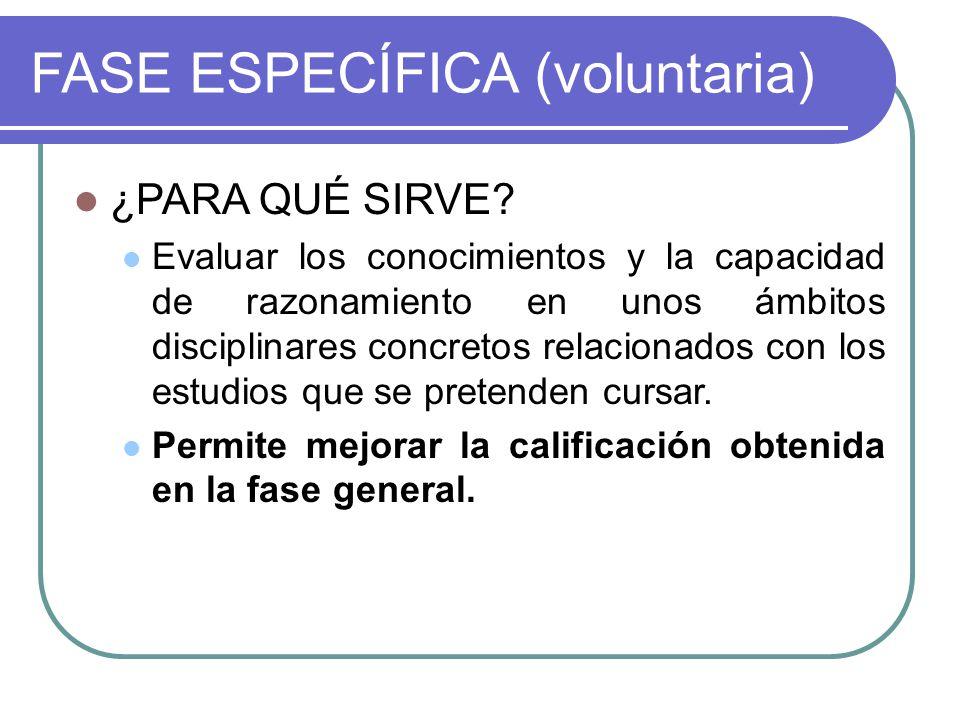 FASE ESPECÍFICA (voluntaria) ¿PARA QUÉ SIRVE.