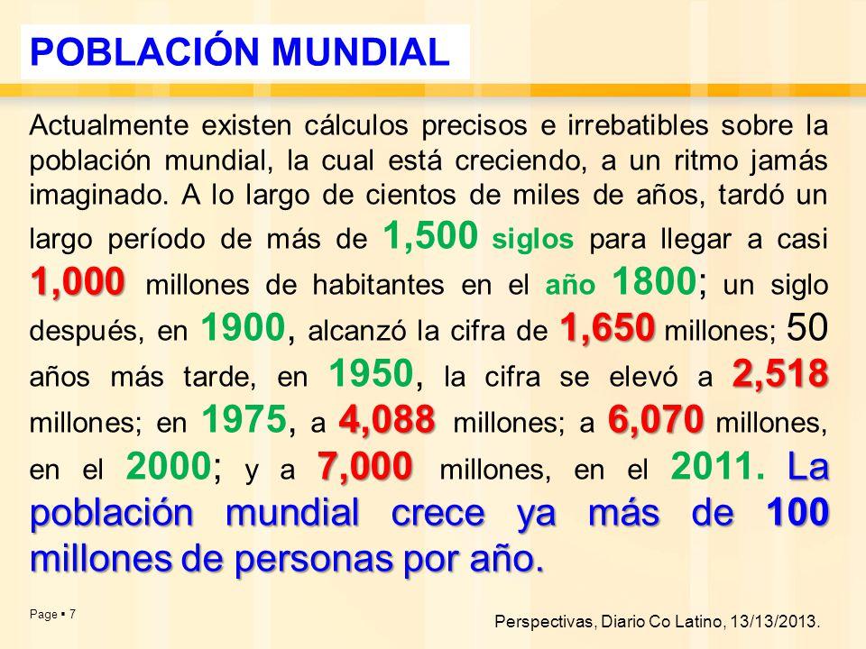 Page  7 1,000 1,650 2,518 4,0886,070 7,000La población mundial crece ya más de 100 millones de personas por año.