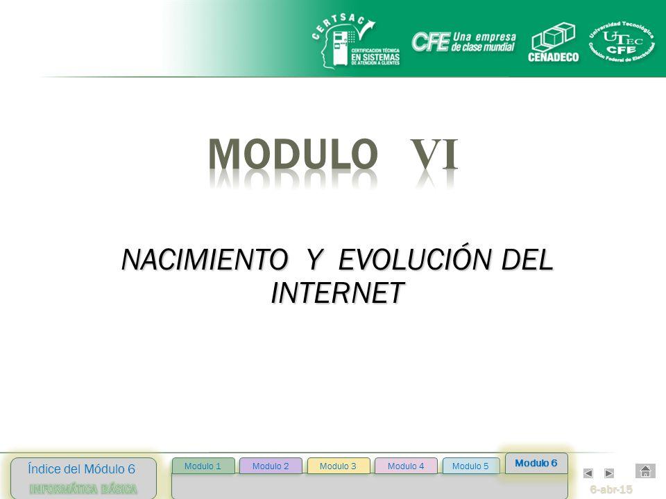 6-abr-15 Índice del Módulo 6 Modulo 2 Modulo 3 Modulo 4 Modulo 5 Modulo 1 Modulo 6 NACIMIENTO Y EVOLUCIÓN DEL INTERNET