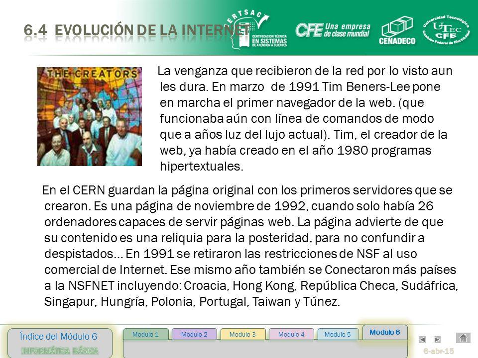 6-abr-15 Índice del Módulo 6 Modulo 2 Modulo 3 Modulo 4 Modulo 5 Modulo 1 Modulo 6 En el CERN guardan la página original con los primeros servidores que se crearon.