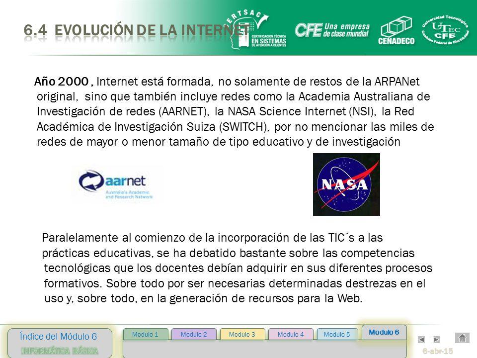 6-abr-15 Índice del Módulo 6 Modulo 2 Modulo 3 Modulo 4 Modulo 5 Modulo 1 Modulo 6 Año 2000, Internet está formada, no solamente de restos de la ARPANet original, sino que también incluye redes como la Academia Australiana de Investigación de redes (AARNET), la NASA Science Internet (NSI), la Red Académica de Investigación Suiza (SWITCH), por no mencionar las miles de redes de mayor o menor tamaño de tipo educativo y de investigación Paralelamente al comienzo de la incorporación de las TIC´s a las prácticas educativas, se ha debatido bastante sobre las competencias tecnológicas que los docentes debían adquirir en sus diferentes procesos formativos.