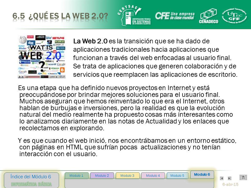 6-abr-15 Índice del Módulo 6 Modulo 2 Modulo 3 Modulo 4 Modulo 5 Modulo 1 Modulo 6 Es una etapa que ha definido nuevos proyectos en Internet y está preocupándose por brindar mejores soluciones para el usuario final.