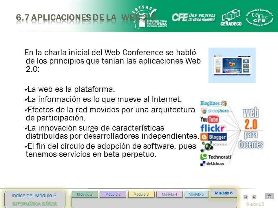 6-abr-15 Índice del Módulo 6 Modulo 2 Modulo 3 Modulo 4 Modulo 5 Modulo 1 Modulo 6 En la charla inicial del Web Conference se habló de los principios que tenían las aplicaciones Web 2.0: La web es la plataforma.