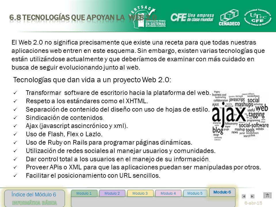 6-abr-15 Índice del Módulo 6 Modulo 2 Modulo 3 Modulo 4 Modulo 5 Modulo 1 Modulo 6 Tecnologías que dan vida a un proyecto Web 2.0: Transformar software de escritorio hacia la plataforma del web.