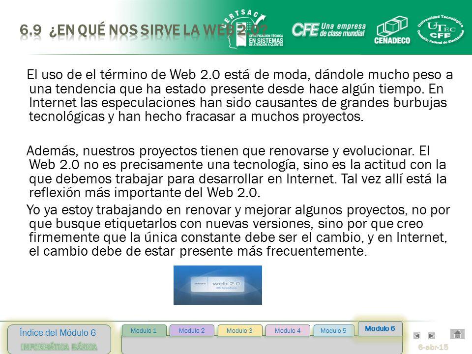 6-abr-15 Índice del Módulo 6 Modulo 2 Modulo 3 Modulo 4 Modulo 5 Modulo 1 Modulo 6 El uso de el término de Web 2.0 está de moda, dándole mucho peso a una tendencia que ha estado presente desde hace algún tiempo.