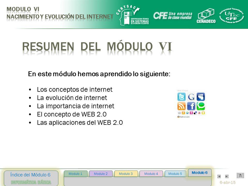 6-abr-15 Índice del Módulo 6 Modulo 2 Modulo 3 Modulo 4 Modulo 5 Modulo 1 Modulo 6 Los conceptos de internet La evolución de internet La importancia de internet El concepto de WEB 2.0 Las aplicaciones del WEB 2.0