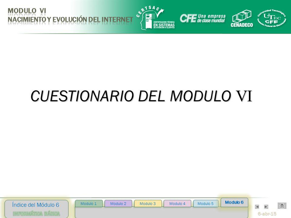 6-abr-15 Índice del Módulo 6 Modulo 2 Modulo 3 Modulo 4 Modulo 5 Modulo 1 Modulo 6 CUESTIONARIO DEL MODULO VI