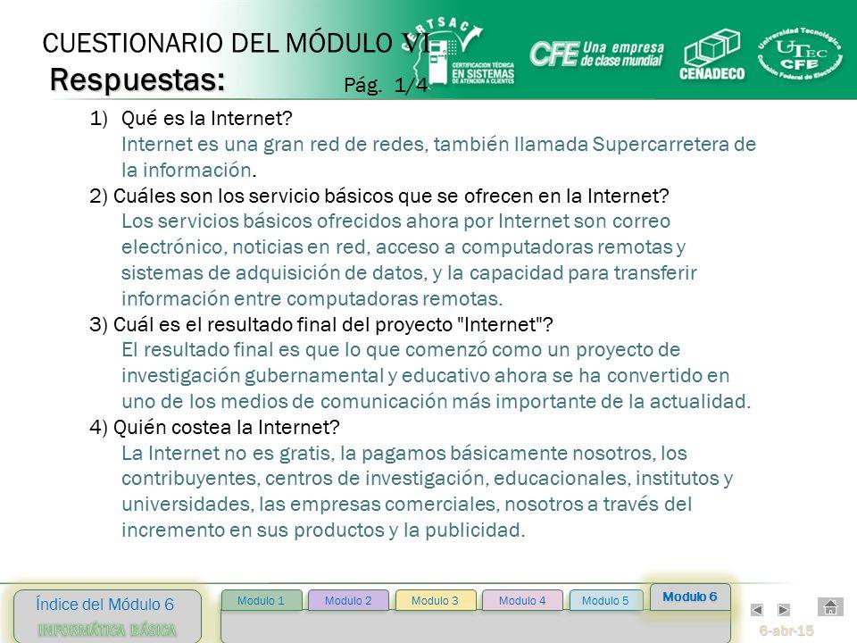 6-abr-15 Índice del Módulo 6 Modulo 2 Modulo 3 Modulo 4 Modulo 5 Modulo 1 Modulo 6 1)Qué es la Internet.