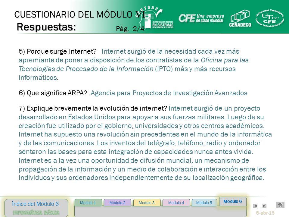 6-abr-15 Índice del Módulo 6 Modulo 2 Modulo 3 Modulo 4 Modulo 5 Modulo 1 Modulo 6 5) Porque surge Internet.