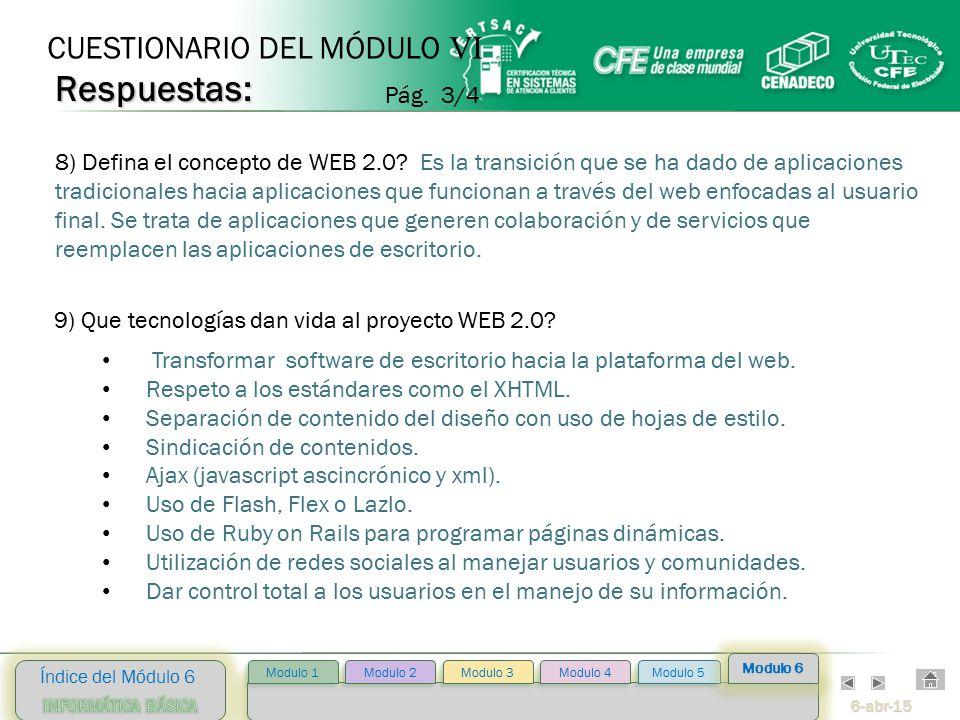 6-abr-15 Índice del Módulo 6 Modulo 2 Modulo 3 Modulo 4 Modulo 5 Modulo 1 Modulo 6 9) Que tecnologías dan vida al proyecto WEB 2.0.