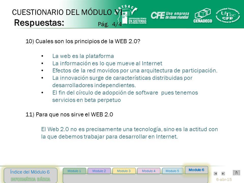 6-abr-15 Índice del Módulo 6 Modulo 2 Modulo 3 Modulo 4 Modulo 5 Modulo 1 Modulo 6 10) Cuales son los principios de la WEB 2.0.