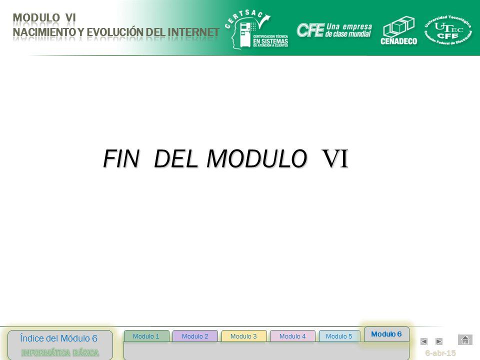 6-abr-15 Índice del Módulo 6 Modulo 2 Modulo 3 Modulo 4 Modulo 5 Modulo 1 Modulo 6 FIN DEL MODULO VI
