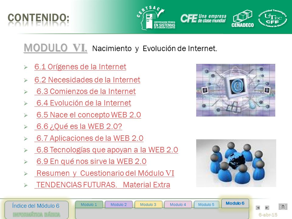 6-abr-15 Índice del Módulo 6 Modulo 2 Modulo 3 Modulo 4 Modulo 5 Modulo 1 Modulo 6 MODULO VI.