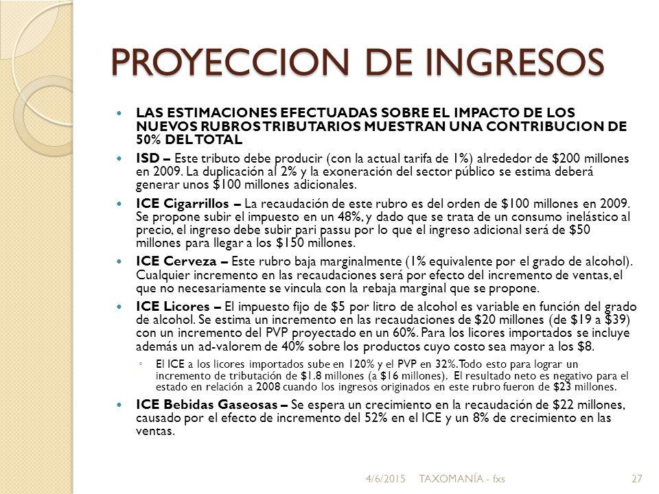 PROYECCION DE INGRESOS LAS ESTIMACIONES EFECTUADAS SOBRE EL IMPACTO DE LOS NUEVOS RUBROS TRIBUTARIOS MUESTRAN UNA CONTRIBUCION DE 50% DEL TOTAL ISD – Este tributo debe producir (con la actual tarifa de 1%) alrededor de $200 millones en 2009.