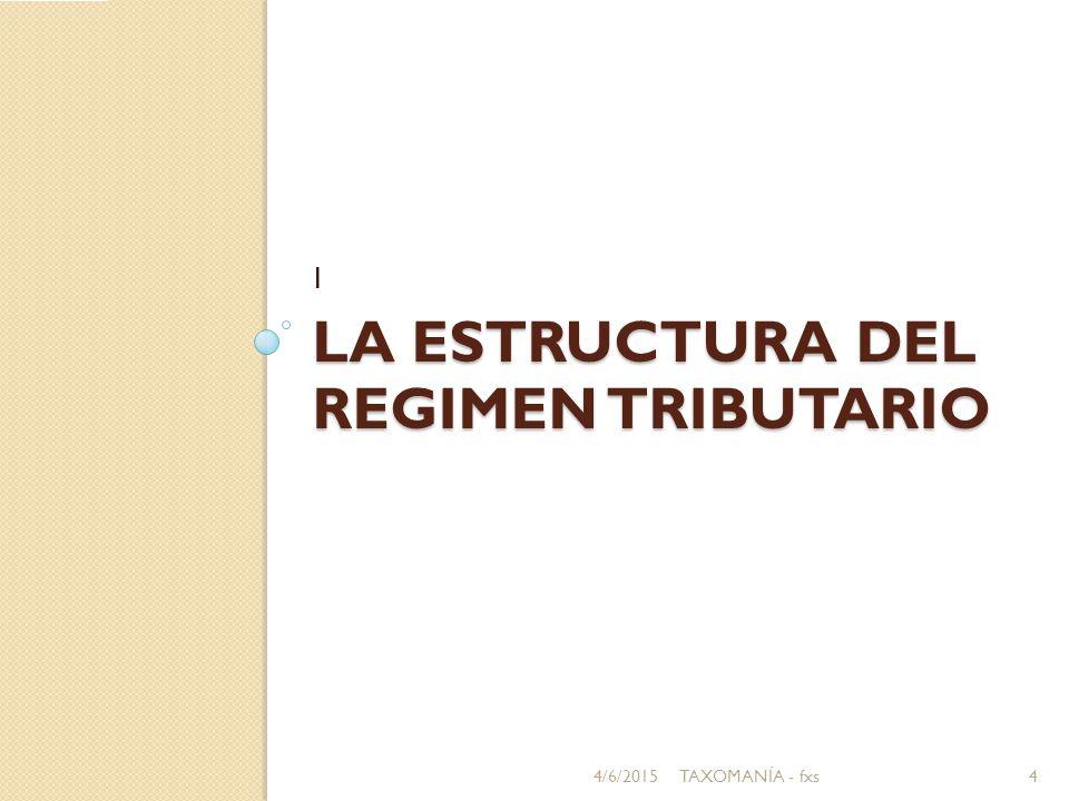 LA ESTRUCTURA DEL REGIMEN TRIBUTARIO I 4/6/20154TAXOMANÍA - fxs