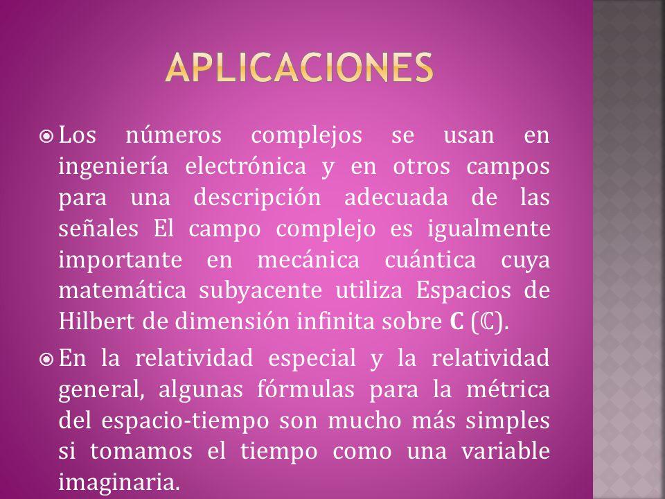 LLos números complejos se usan en ingeniería electrónica y en otros campos para una descripción adecuada de las señales El campo complejo es igualmente importante en mecánica cuántica cuya matemática subyacente utiliza Espacios de Hilbert de dimensión infinita sobre C ( ℂ ).