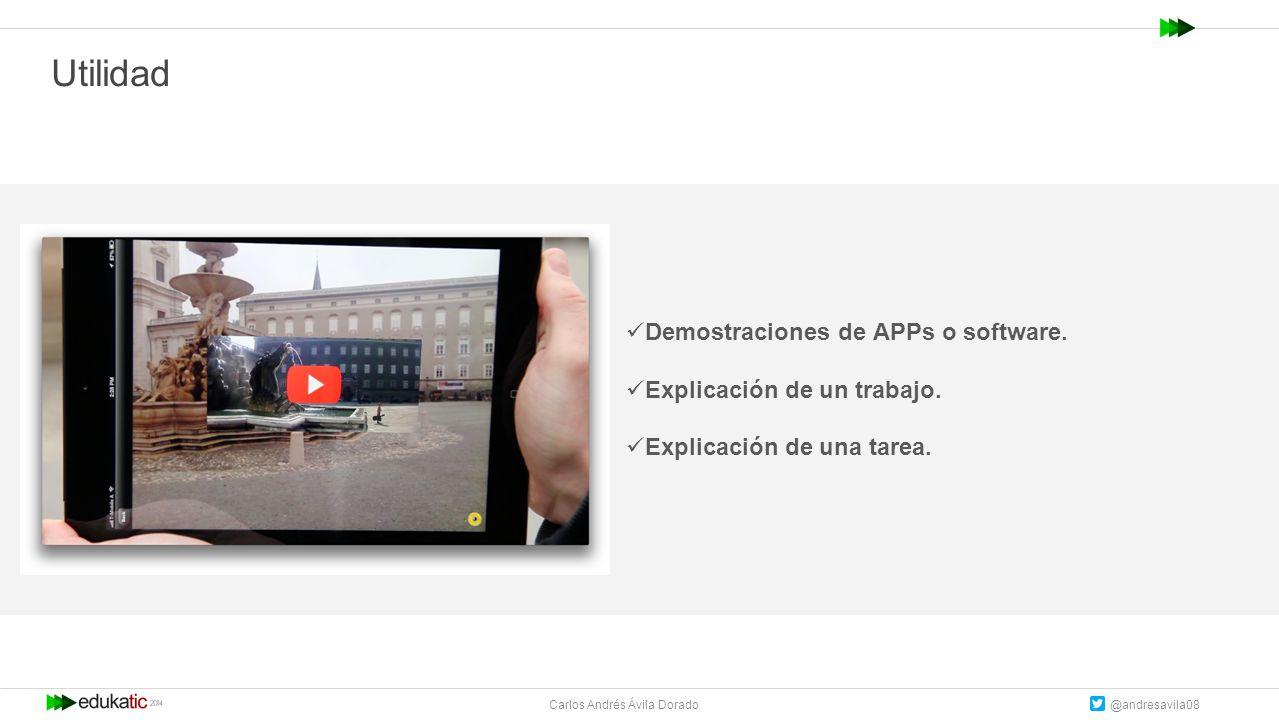 Carlos Andrés Ávila Dorado @andresavila08 Utilidad Demostraciones de APPs o software.