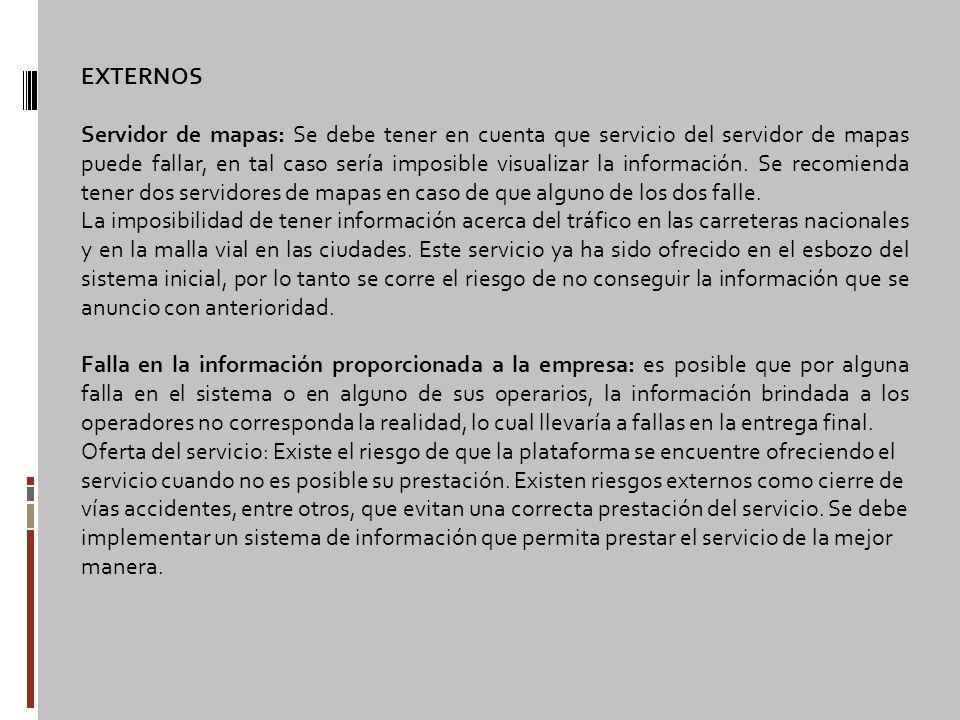 EXTERNOS Servidor de mapas: Se debe tener en cuenta que servicio del servidor de mapas puede fallar, en tal caso sería imposible visualizar la información.