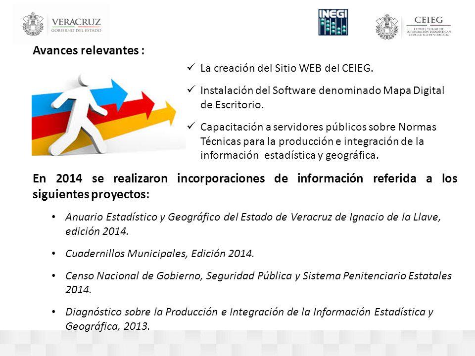 Avances relevantes : La creación del Sitio WEB del CEIEG.