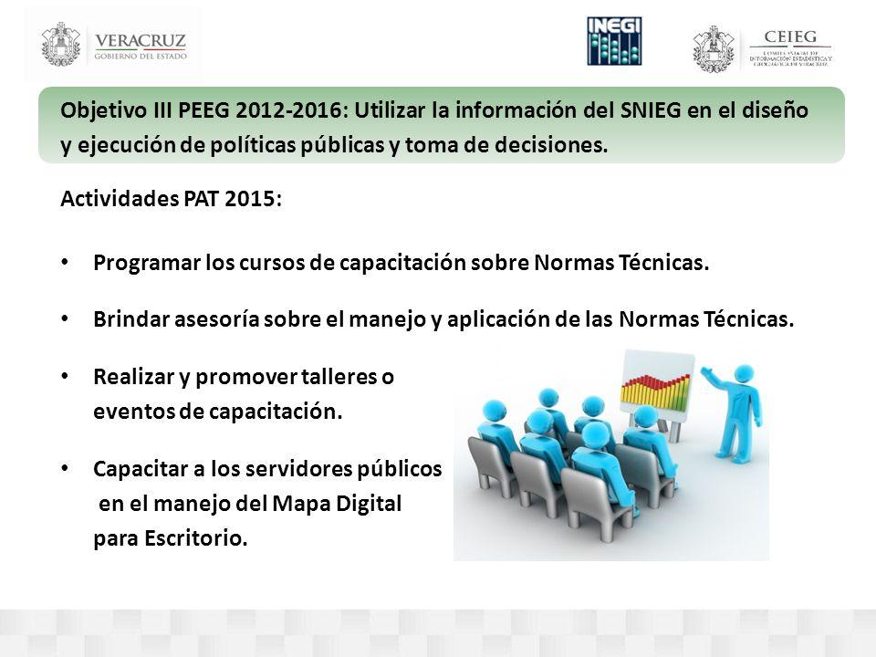 Objetivo III PEEG 2012-2016: Utilizar la información del SNIEG en el diseño y ejecución de políticas públicas y toma de decisiones.