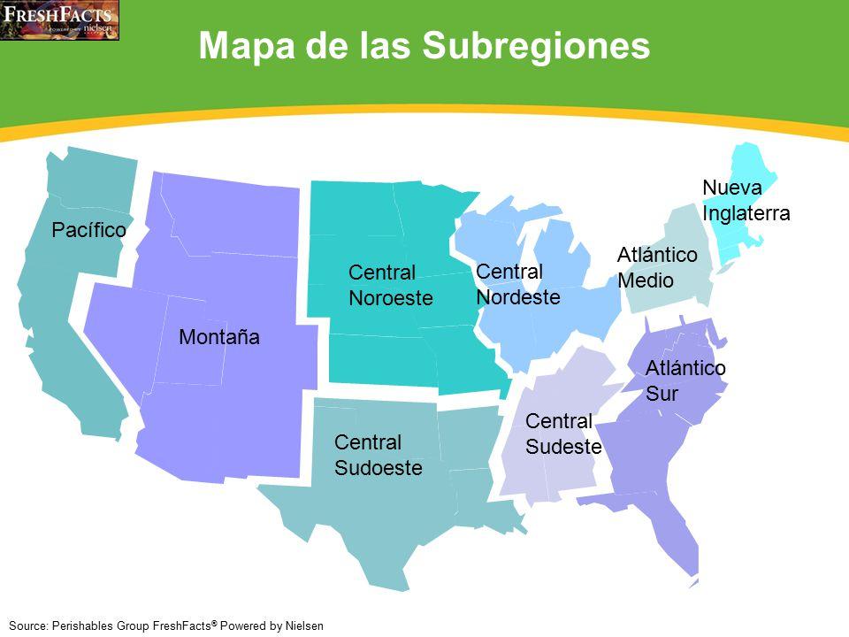 12 Pacífico Montaña Central Noroeste Central Sudoeste Central Nordeste Central Sudeste Atlántico Medio Nueva Inglaterra Atlántico Sur Mapa de las Subregiones Source: Perishables Group FreshFacts ® Powered by Nielsen