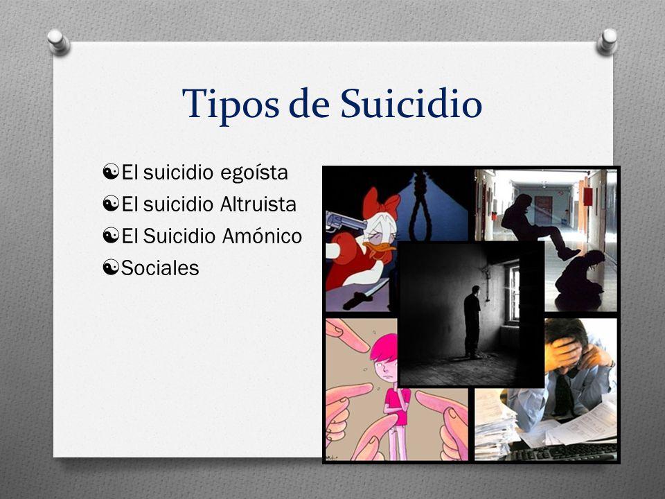 Tipos de Suicidio  El suicidio egoísta  El suicidio Altruista  El Suicidio Amónico  Sociales