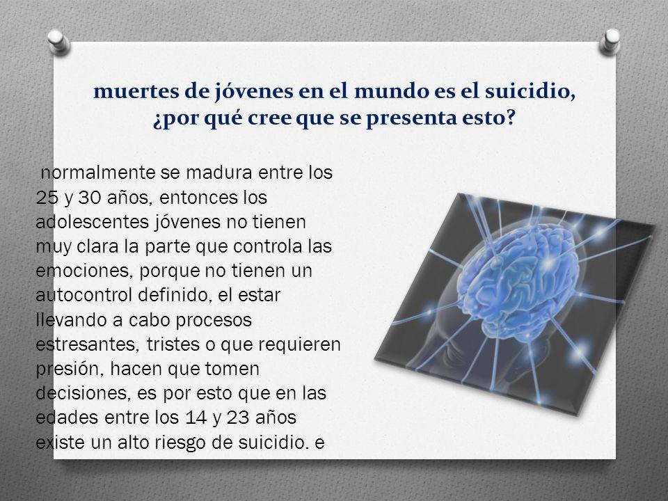 muertes de jóvenes en el mundo es el suicidio, ¿por qué cree que se presenta esto.