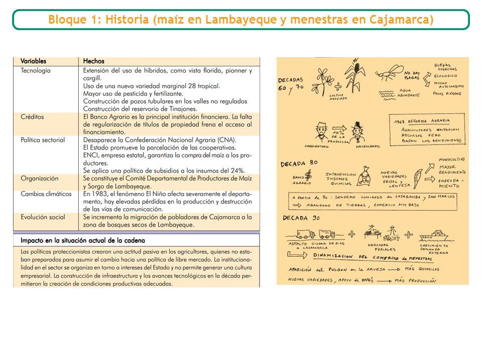 Bloque 1: Historia (maíz en Lambayeque y menestras en Cajamarca)