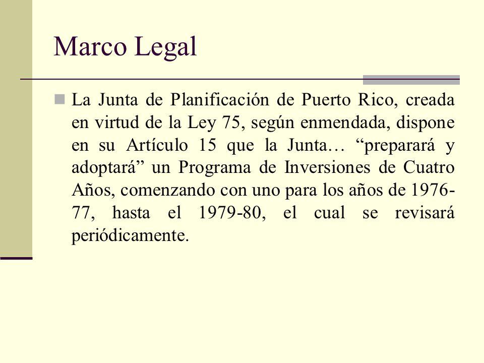 Marco Legal La Junta de Planificación de Puerto Rico, creada en virtud de la Ley 75, según enmendada, dispone en su Artículo 15 que la Junta… preparará y adoptará un Programa de Inversiones de Cuatro Años, comenzando con uno para los años de 1976- 77, hasta el 1979-80, el cual se revisará periódicamente.